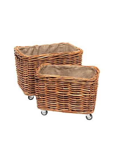 Skalny Set Of 2 Rattan Baskets On Wheels, Natural