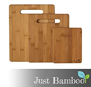 Cutting Board ✭ Premium Bamboo Core 3 Piece Set Great for Your Kitchen ✭ Use for Slicing Any Veggie, Cheese, Bread, Meat or Barbecue ✭ Plastic Free & Totally Eco Friendly ✭ Small, Med & Large Boards ✭ Harder Than Maple Wood ✭ 5 Star Service Gu