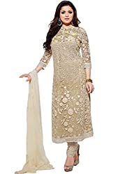 Jenny Fashion Cream Embroidered Dress Material With Dupatta