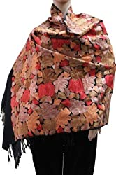 Matelco wool black embroidered shawl