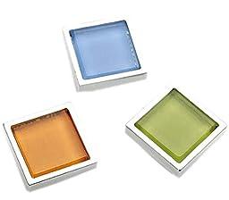 Set of 3 Modern Square Zinc Alloy Drawer Handles/Pulls/Knobs,3 Colors,2.85*2.8CM