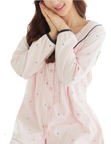 【Failymoon】春夏向きマタニティ授乳口つきパジャマ(ピンクマリン)授乳簡単前開き長袖、マタニティパジャマ、さわやかマリンテイスト、おしゃれ授乳服産前産後入院