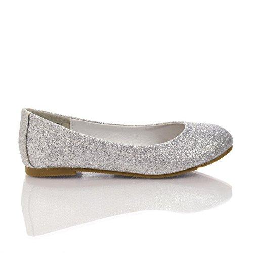Scoutiis Silver Children'S Glitter Round Toe Slip On Ballerina Dress Flats-9 front-512014