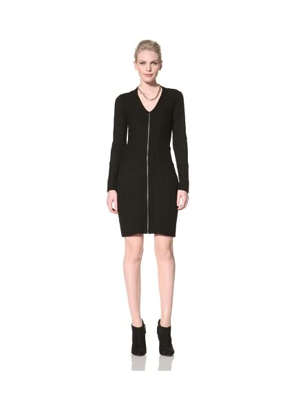 Andrew Marc Women's Zip Front Sweater Dress