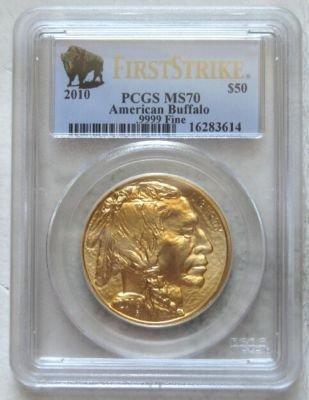 2010 1 oz Gold Buffalo Coins - MS-70 PCGS