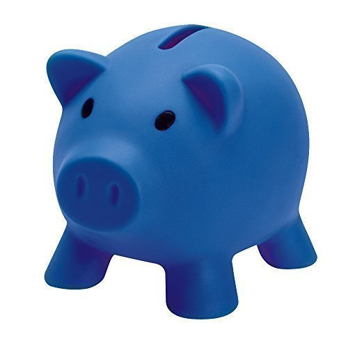 Porcellino Salvadanaio per Monete e Banconote in Plastica - Idea Regalo - Blu