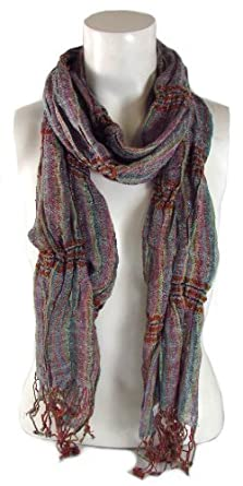 BB Accessories Purple Tone Multicolour Crinkle Fabric Tassel Scarf with Vertical Stripe Pattern