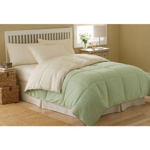 Marrikas Reversible Microfiber Down Alternative King Comforter Ivory And Sage front-899575