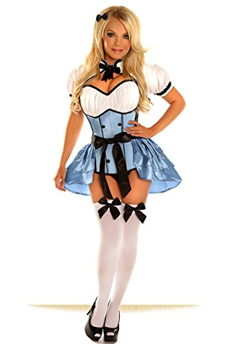 Halloween 2017 Disney Costumes Plus Size & Standard Women's Costume Characters - Women's Costume Characters Women's Top Drawer Plus Size 4 Piece Alice Costume, Blue, Sizes S - 6x