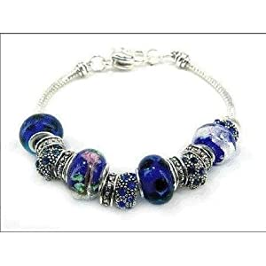 Pandora Style Sapphire Blue Bracelet