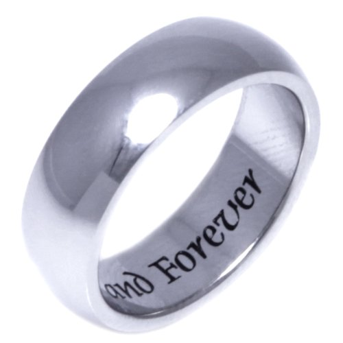 LOVE NOW AND FOREVER - High quality etched stainless steel ring. Hypo-allergenic. Inspirational Relationship Jewelry Wedding Band / Wedding Ring / Promise Ring. SIZE 8