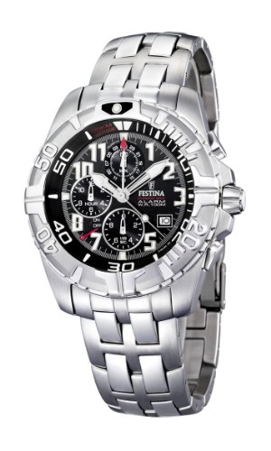 Festina Men's Chrono Watch F16095/5 With Steel Strap And Black Dial