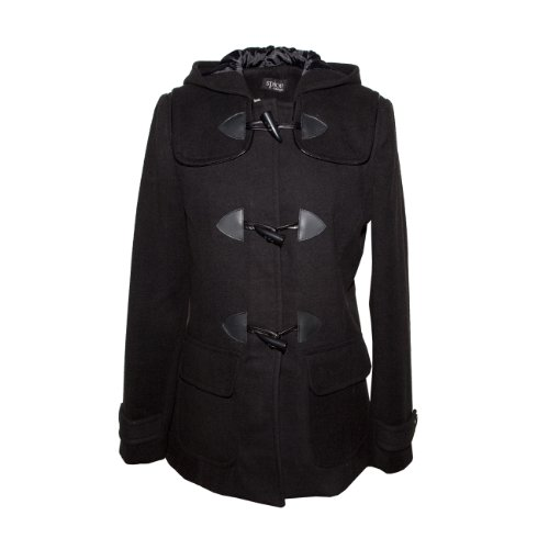 Spice - Black Womens Winter Hooded Piped Duffle Coat Size 16 44 [Apparel]