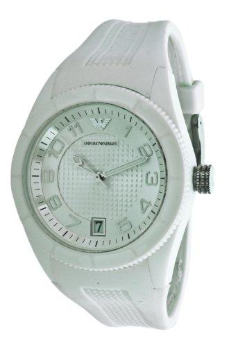 Emporio Armani AR1044 - Reloj analógico de cuarzo para mujer, correa de plástico color blanco