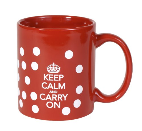 Keep Calm And Carry On Cups Ceramic Polka Dot
