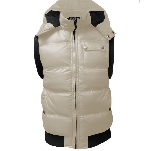 Soulstar Stone Quilted Padded Bodywarmer Hooded Gilet Jacket Mens Size XL - Ecru