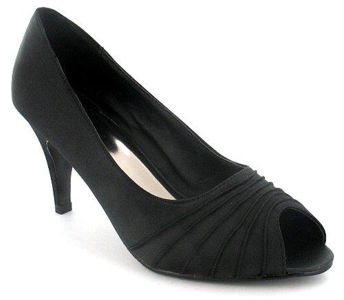 Womens/Ladies Black Satin Peep Toe Court Shoes