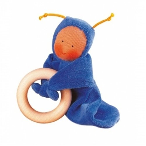 Kathe Kruse - Rainbow Baby Grabbing Ring Doll, Blue