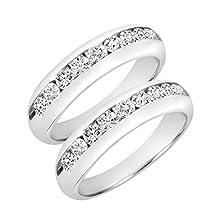 buy 2 Carat T.W. Round Cut Mens Same Sex Wedding Band Set 14K White Gold- Size 6.5
