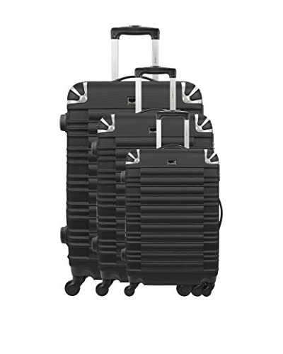 BLUESTAR Set de 3 trolleys rígidos Lima Negro