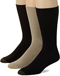 Gold Toe Men\'s Fluffies 3 Pack Casual Socks, Multi, Shoe Size 12-16