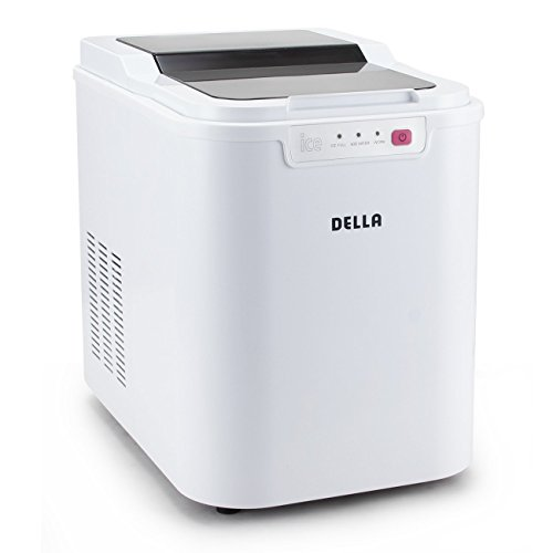 Cheapest Price! Della© Ice Maker Electric Machine Countertop Cube Size Easy-Touch Buttons Yield Up To 26 Pounds of Ice Daily, White