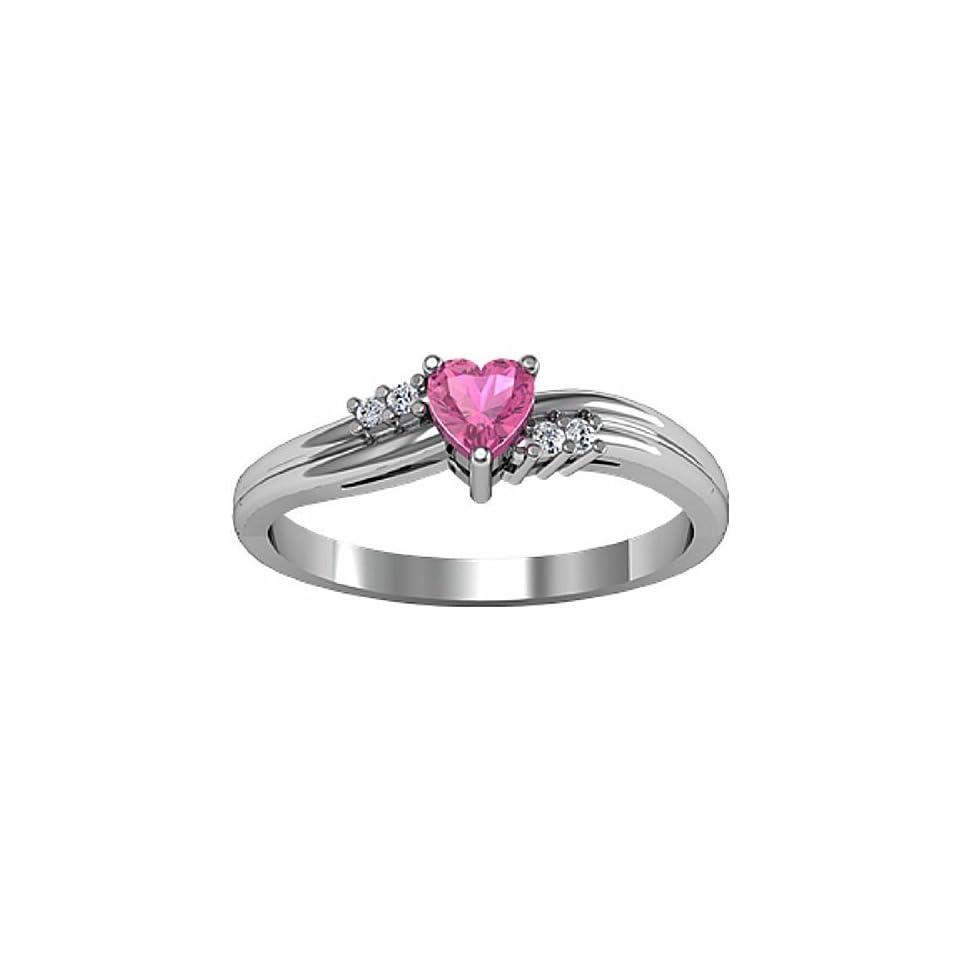 14K White Gold Heart Shaped Pink Tourmaline and Diamond Ring Jewelry