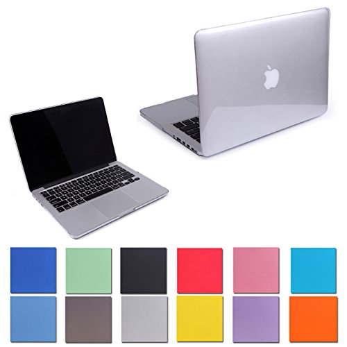 """HDE Glossy Hard Shell Clip Snap-on Case for MacBook Pro 13"""" with Retina Display - Fits Model A1425 / A1502 (Clear)"""
