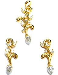 M Gold Designer 18k Gold Plated Diamond Pendant Set White PS67GP For Women