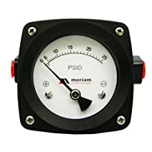 "Meriam 200 Aluminum Piston Gauge with Buna-N Seal, 0-10 psid Range, 4.5"" Dial, +/- 2% Accuracy, 1/4"" NPT Female Connection"