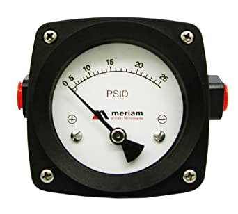 "Meriam 200 Series 316 Stainless Steel Piston Gauge with Buna-N Seal, 0-75 psid Range, 4.5"" Dial, +/- 2% Accuracy, 1/4"" NPT Female Connection"