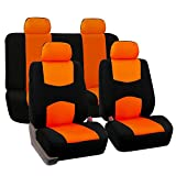 FH-FB050114 Flat Cloth Car Seat Covers Orange / Black Color