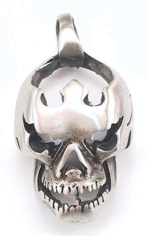 FLYING HEADLESS Flames SKULL Pewter PENDANT Necklace