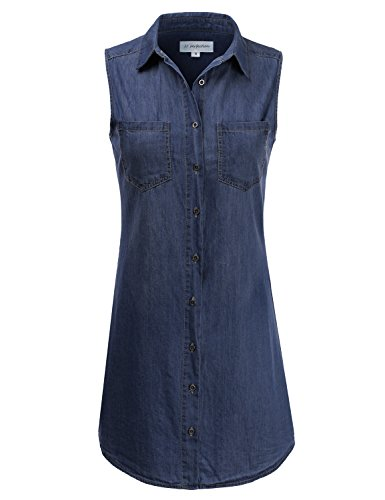 JJ Perfection Women's Sleeveless Chambray Denim Button Down Dress DARK 3XL