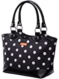 Sachi Fashion Insulated Lunch Bag, Black with White Dots