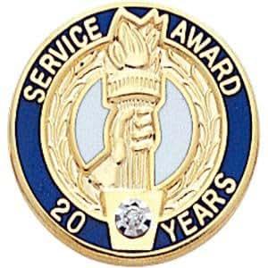 Service Award Lapel Pin w/Swarovski Crystal - 20 Years