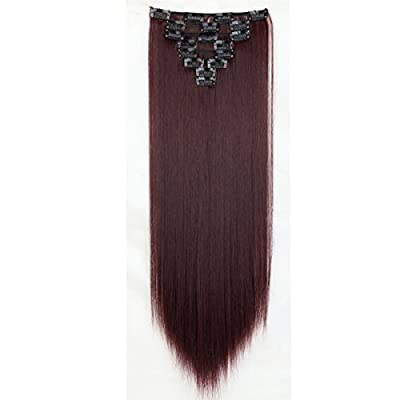 "Long 26""66cm Straight Wine Red Full Head Hairpiece Clip in Hair Extensions 8piece 18clips Hairpiece Women Hair"