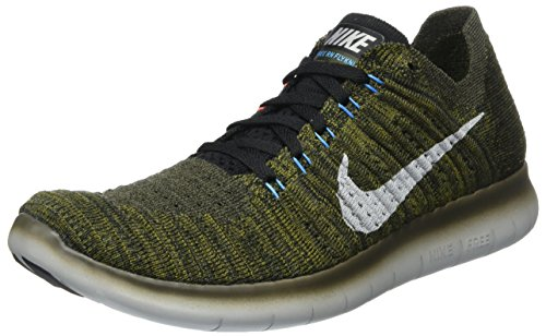 Nike Free Rn Flyknit, Scarpe Running Uomo, Verde (Cargo Khaki/Blue Glow/Bright Mango/Schwarz), 41 EU