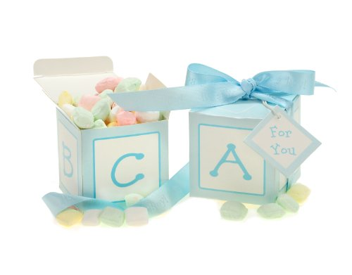 Kate Aspen Classic Baby Blocks Favor Boxes with Imprinted Ribbon - Set of 24, Blue