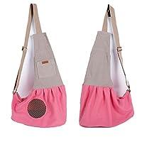 Tinksky Tiny Canvas Pet Dog Cat Carrier Sling Shoulder Bag Carrier Bag (Pink)
