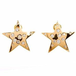 Estate Diamond 18k Gold Star Shaped Clipback Earrings