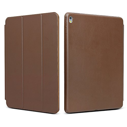 """iPad Pro 9.7 """"Case, JGOO [Full Body Protection] Ultra Slim Folio Abdeckung mit Standplatz und Magnetic Smart Cover Auto-Spur-Schlaf On / Off-Funktion, Klassische Eleganz Stil für iPad Pro 9.7 Zoll (2016 Release), Brown"""
