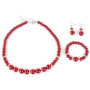 Yesurprise Schmuckset Perlen Armband Ohring Pearl Ball Beads Necklace Bracelet Earrings SET Geschenk Gift 007