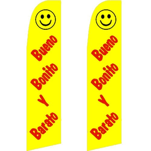 2 Swooper Flutter Flags Bueno Bonito Y Barato Smiley Face Yellow Red