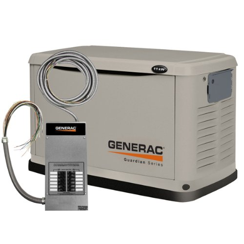 Generac 6437 11,000 Watt Air-Cooled Steel Enclosure Liquid Propane/Natural Gas Powered Standby Generator (Carb Compliant) With 12-Circuit Transfer Switch