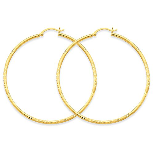 Round Earrings - Hoop In 14Kt Yellow Gold - Hinge W/ Post Back - Inviting