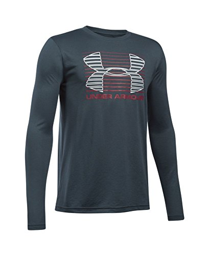 Under Armour Boys' Breakthrough Logo Long Sleeve T-Shirt, Stealth Gray (008), Youth Small