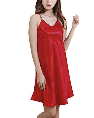 ZANZEA-Womens-Sexy-BabyDoll-Satin-Silk-Lingerie-Chemise-Mini-Night-Dress