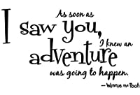 "Winnie the pooh Quote Wall Decal decor "" As soon as i saw you,i k an adventure was going to happen "" saying Wall Art Sticker Decal for kid Bedroom Birthday Gift for boys by happy-decor"