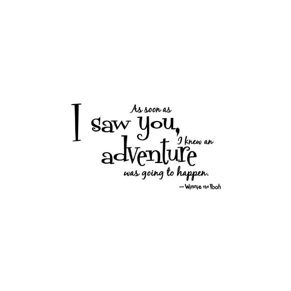 Winnie the pooh Quote Wall Decal decor  As soon as i saw you,i knew an adventure was going to happen  saying Wall Art Sticker Decal for kid Bedroom Birthday Gift for boys